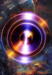 Audio music Speaker in space. Cosmic space and stars, abstract cosmic background, space music, music concept.