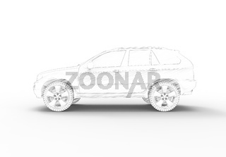 3d rendering of a SUV car isolated in white studio background