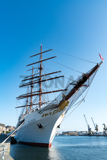 view of the Sea Cloud II luxury cruise ship in the port of Saint-Malo on the coast of Brittany