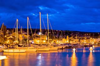Malinska waterfront and harbor blue dawn view