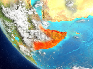 Satellite view of Somalia in red