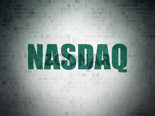 Stock market indexes concept: NASDAQ on Digital Data Paper background