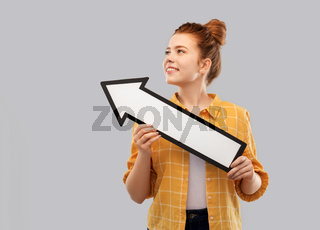 teenage girl with arrow shows north west direction