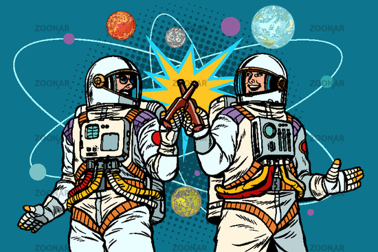 a bottle of beer cheers. two friends of the astronaut celebrate scientific achievements in space. cosmonautics day