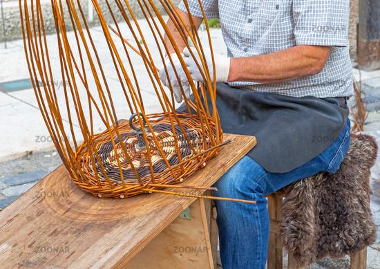 Basket maker at work