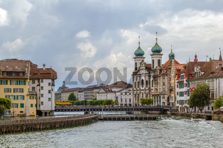 embankment of Reuss river, Lucerne, Switzerland