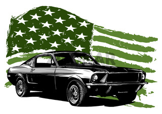 vintage car with the American flag illustration
