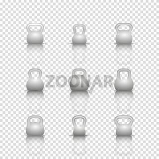 Set realistic kettlebells, vector illustration.