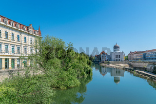 Crisul Repede river in the center of Oradea in Bihor county, Crisana, Romania and in southeastern Hungary