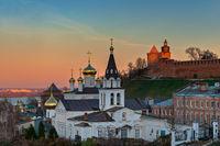 Cityscape of Nizhny Novgorod town in sunset light. Russia