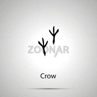 Crow paws, steps imprints, simple black silhouette