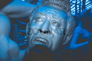 Kolkata India October 2018 - Close up portrait of Screaming horror face of Mahishasur, a buffalo evil demon in Hindu mythology character. Ghost cruel, Scary halloween shot in Durga Puja festival.