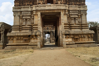 The North Gopura of the inner courtyard, an entrance to the Achyuta Raya temple, Hampi, Karnataka. Sacred Center. View from the south.