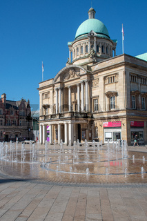 Hull City Hall with fountain in foreground