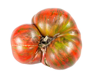 fresh large tomato with green veins isolated