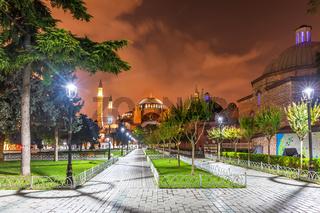 Sultanahmet park and Hagia Sophia museum in Istanbul, Turkey