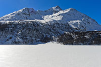 frozen Lake Sils, Silsersee to the Piz de la Margna, Sils im Engadin, Grisons, Switzerland