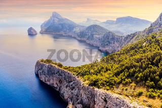 Viewpoint at the Mirador Es Colomer overseeing Formentor peninsula, beautiful sunset, Mallorca