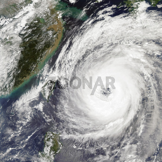 Typhoon Trami Takes Aim at Japan. Elements of this image furnished by NASA.