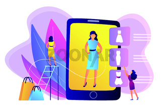 Virtual fitting room concept vector illustration.