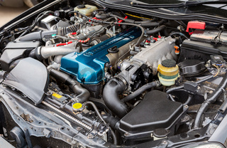 Tuned turbo car engine of Toyota in vehicle
