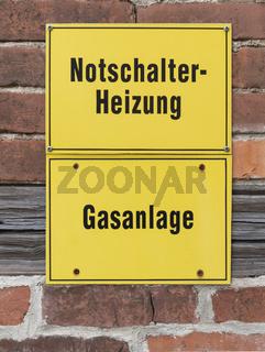 Notschalter Heizung, Gasanlage   Emergency switch heating, gas system
