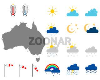 Karte von Australien mit Wettersymbolen - Map of Australia with weather symbols