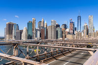 Aerial Lower Manhattan skyscrapers