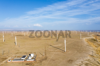 aerial view of wind farms