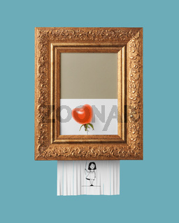 Girl with a ripe tomato balloon in the shape of a heart in a vintage frame with an ornament on a blue background. Self-destructive picture as symbol of modern art
