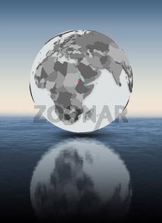 Eritrea on globe above water