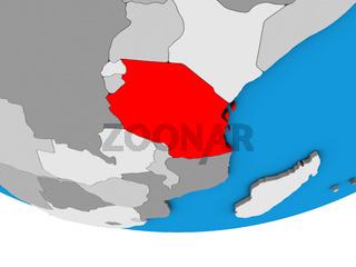 Tanzania on 3D globe