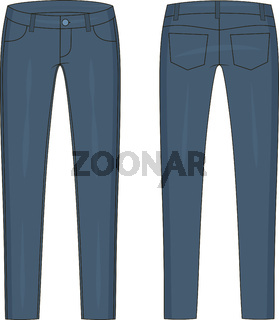 Fashion technical colored sketch of jeans in vector graphic
