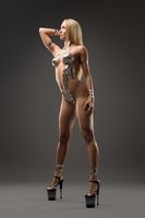 Slim nude woman with bodyart full-length shot
