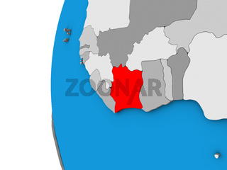 Ivory Coast on 3D globe