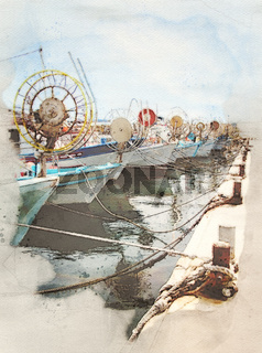 watercolor image of a line of traditional greek fishing boats with moored in Paphos harbour in cyprus