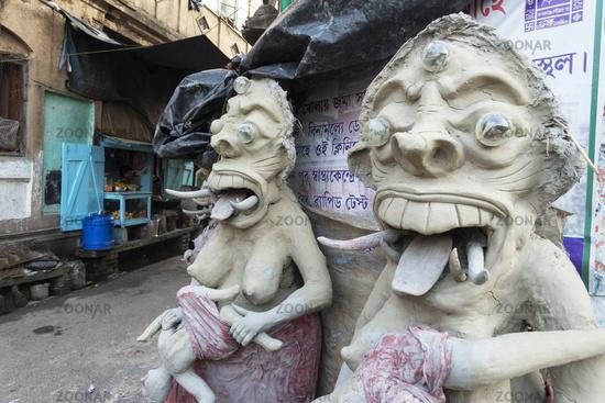 Clay idols in its early stages, Kumartuli, Kolkata, India
