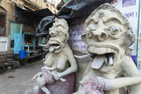 Clay idols in its early stages, Kumartuli, Kolkata, India