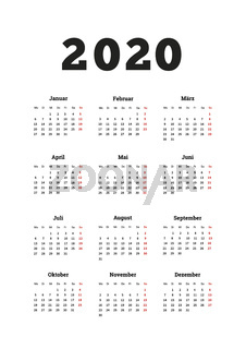 2020 year simple calendar on german language, A4 size vertical sheet isolated on white