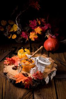 an autumnal rustic Canned Pumpkin,