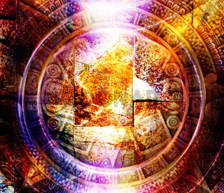Ancient Mayan Calendar and light circle effect, abstract color Background, computer collage.
