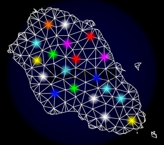 Polygonal Carcass Mesh Map of Graciosa Island with Colorful Light Spots