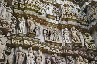 LAKSHMANA TEMPLE, North Wall - Mandapa and Sanctuary - Erotic Sculptures, Western Group, Khajuraho, Madhya Pradesh, UNESCO World Heritage Site