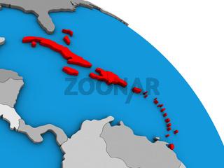 Caribbean on 3D globe