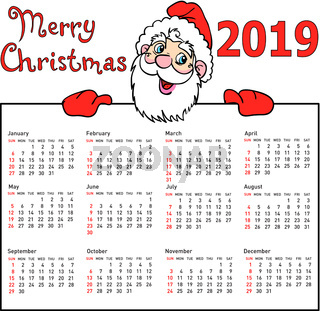 Stylish calendar withmuscular Santa Claus for 2019