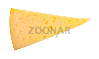 top view of triangular piece of yellow cheese