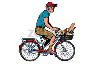 old man on bike with shopping food