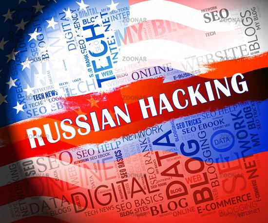Russian Hacking Election Attack Alert 2d Illustration