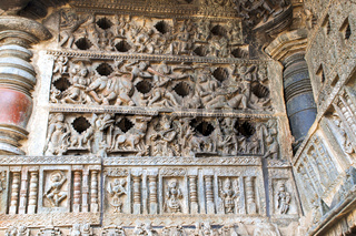 Ornate perforated window. Chennakeshava temple, Belur, Karnataka.