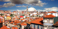 View from the hill Pena Ventos to the old town Ribeira of Porto